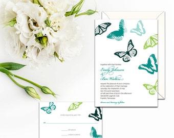 Fluttering Butterfly Wedding Invitation Set, Wedding response, Wedding Menu, Wedding Program, Colorful Wedding and Event Invitations, Invite