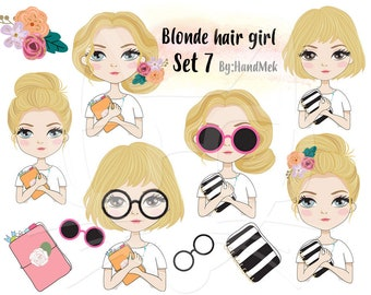 Blonde hair girl Clipart set 7 , instant download PNG file - 300 dpi