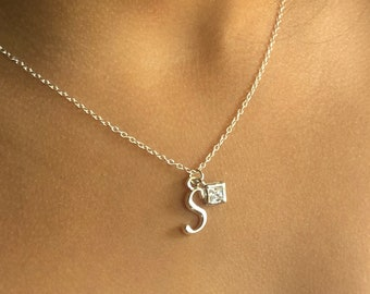 Initial necklace• cubic zirconia necklace• Sterling silver• initial pendant•square cut cubic zirconia• crystal