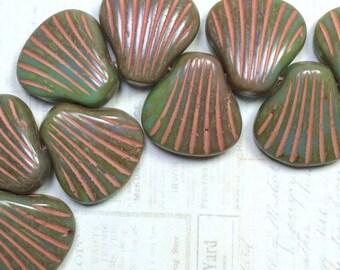 Czech Picasso Shell Beads, Green Shell Beads, 15mm Shell Beads, Turquoise Picasso Shell beads, Czech picasso beads