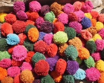 PomPoms, Set of 100 Pompoms, Hmong decoration, Mixed Color Pompoms, Tribal Supply, Folk Art Supply, Jewelry Supply