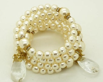 ON SALE Miriam Haskell Glass Pearl Crystal Coil Bracelet