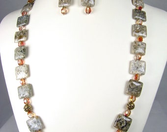 Fossil Fire - sand dunes and sunsets in Ocean Agate and Czech faceted Glass