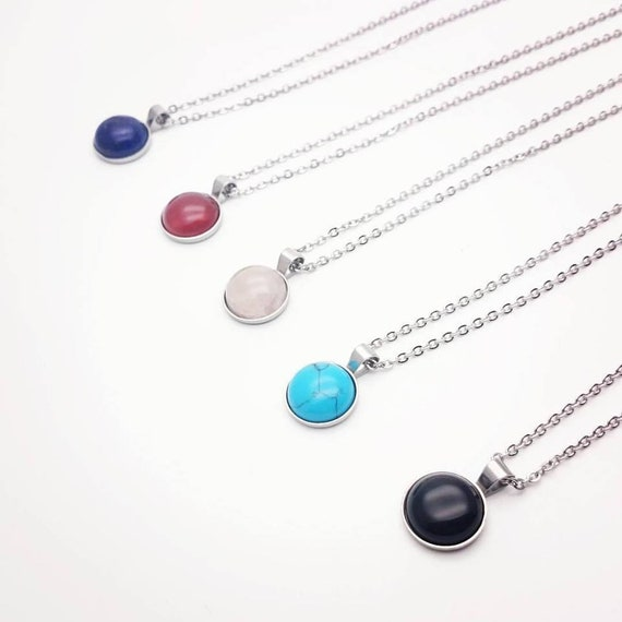 Gemstone and silver steel necklace minimal hypoallergenic 12 mm cabochon blue lapis lazuli carnelian rose quartz turquoise black onyx