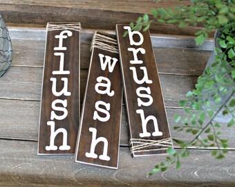 Rustic Bathroom Decor - Bathroom Sign - Farmhouse Sign - Reclaimed Wood Sign - Rustic Home Decor - Bathroom Rules Sign - Twine Sign