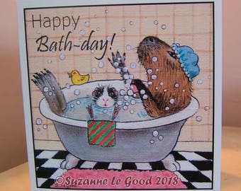 Guinea Pig Capybara art birthday card from original painting  exclusive by English artist Suzanne Le Good square format