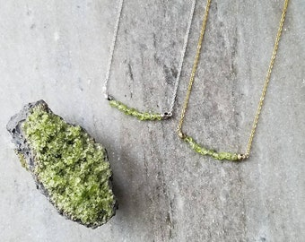 Peridot Necklace // August Birthstone Necklace // Peridot Jewelry // Peridot Crystal // Gemstone Necklace //  Crystal Necklace