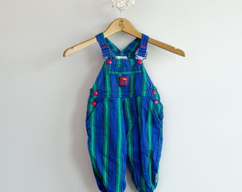 Kid's 1990s Gymboree Striped Denim Overalls • Size 18-24mo