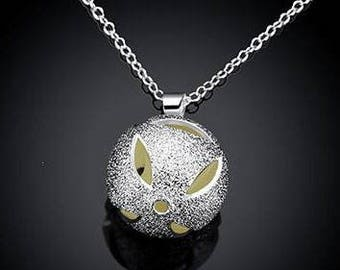 Glow in the dark  ball and locket pendant necklace for women