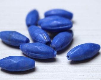 Opaque blue glass beads