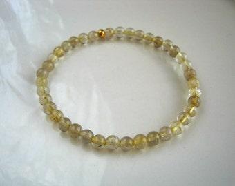 Rutilated Quartz Stretch Bracelet Rutilated Quartz Bracelet Golden Needle Quartz Bracelet