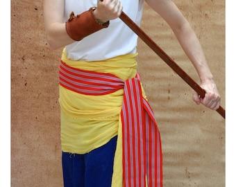 Deep Orange Sash, SA60 - Gypsy Clothing - Woven Sash Belt - Pirate Belt - Guatemalan Fabric - Red Sash - LARP Belt