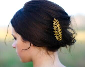 Greek Laurel Leaf Hair Pin Gold Grecian Laurel Leaf Bobby Pin Laurel Leaf Hair Clip Grecian Goddess Hair Barrette Woodland Boho Gift for Her