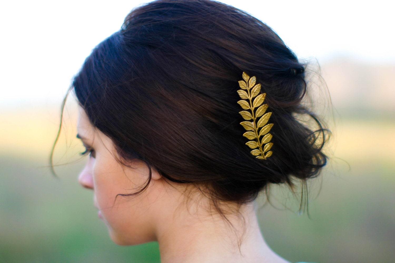 luxe long gold laurel leaf hair pin bobby pin hair clip