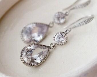 CZ Teardrops Dangle Earrings, Bridal Drop Earrings, Bridal White Crystal Zirconia TearDrop Vintage Earrings, Hypoallergenic Wedding Earrings