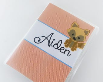 Fox Photo Album Boy Baby Photo Album Girl Photo Album Orange Pinstripe Fox Baby Shower Gift 4x6 or 5x7 picture Baby Shower Gift 739