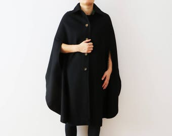 Vintage 80s Black Wool Cape Sleeveless Women Coat Loden Cape Coat Women Winter Poncho Medieval Cape Poncho Coat Gift for Woman