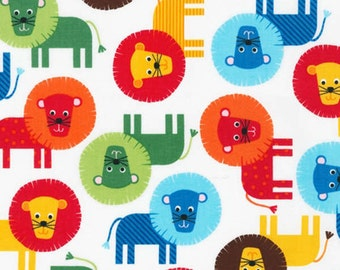 Primary Lions fabric from the Urban Zoologie Collection by Ann Kelle for Robert Kaufman Fabrics # AAK13954204
