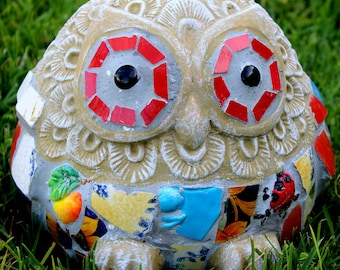 Mosaic Owl  Statue Mosaic Owl Mosaic - Med
