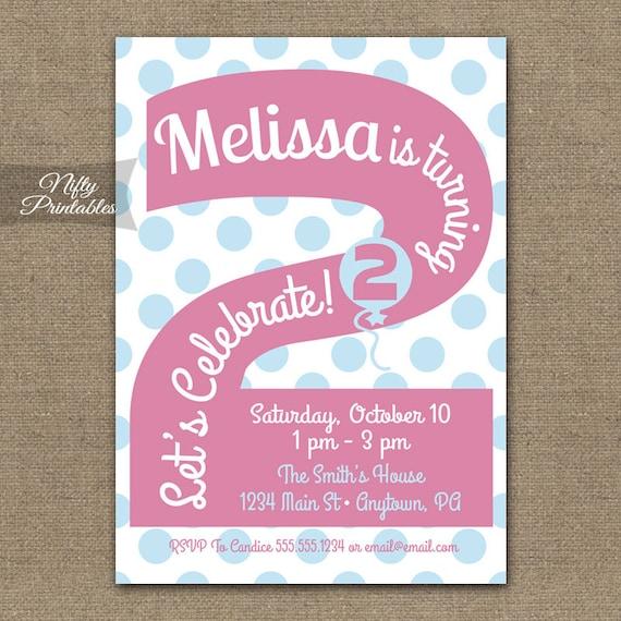 2nd Birthday Invitations Printable Second Birthday