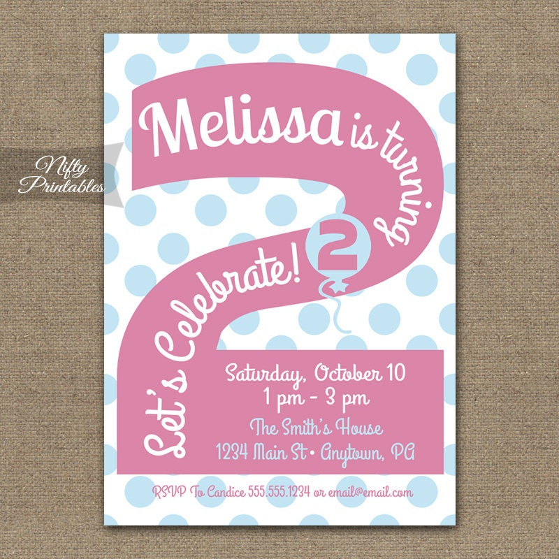 2nd Birthday Invitations Printable Second Birthday