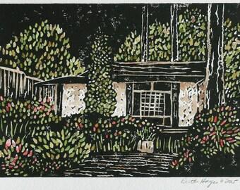 Landscape garden linocut 5x7 black green red, original block print, sfa, folk art primitive, botanical print, kitchen art, architectural art