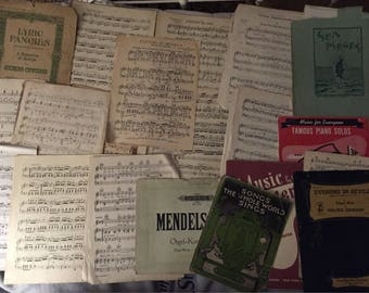 Antique Loose Sheet Music for Crafts Collage Art Projects Circa 1900s-1940s or so