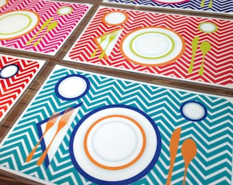 Children's Manners & Table Setting Placemat - Turquoise Chevron