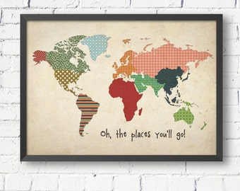 Vintage world map, world map poster, size A1 A2 A3 A4, world map for kids, nursery decor, kids room ideas