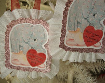valentines day gift tags Cute elephants gift tag paper ornaments glitter gift tags vintage cards decor pink glittered ornaments