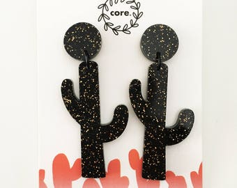 Cactus earrings Dangle laser cut black with copper glitter acrylic