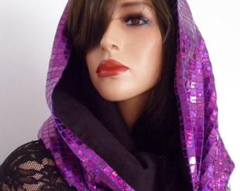 purple sequin hood, festival hood, hologram snood, purple sequin scarf, festival clothing