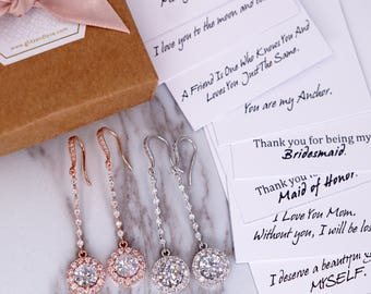 Long Chandelier earrings, brides jewelry, Wedding Bridesmaid Earrings, Bridal shower gifts, personalise message, Cubic Zirconia, Padma E300