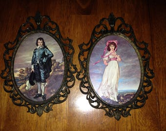 Vintage blue Boy & Pinkie Made in Italy framed art