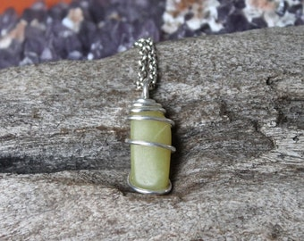 Tumbled Jade Necklace - Wiccan Jewelry - Healing Stone Necklace - Bohemian Jewelry - Gemstone Pendant - Natural Jade Jewelry - Boho Chic