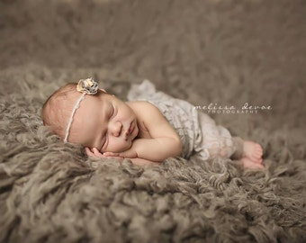 Silver Gray Stretch Lace Wrap Newborn Photography Prop Baby Swaddle