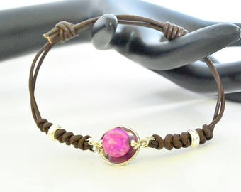 Sugilite bracelet, leather gemstone, yoga bracelet, energy stone, heal stone jewelry, anniversary gift, friend ship gift