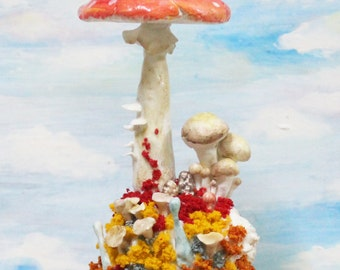 Seasons of a Mushroom Series - Autumn - Fly Agaric Mushroom sculpture