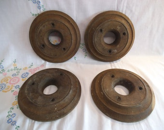 Four Rare Antique Oak Ceiling Bosses - Possibly From Church Bell Tower