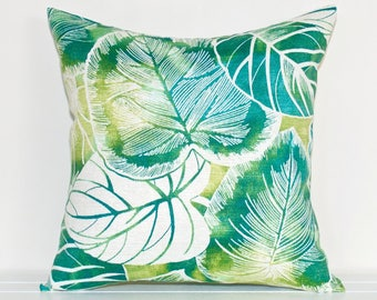 Emerald Green, Teal, Turquoise and White Rainforest Leaves Tropical Greenery Indoor/Outdoor Cushion Cover