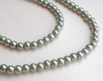 Teal green glass pearl beads round 6mm full strand 7757GB