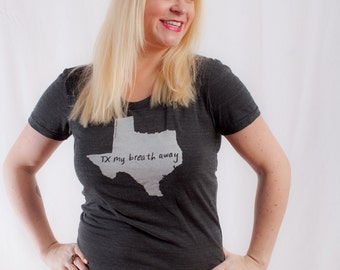 texas shirt, texas tshirt, graphic t, state pride, woman fashion t, gray tshirt, screen print, silkscreen, free shipping