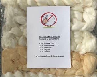 vegan fiber, nonwool sampler for spinning or crafting, undyed, banana fiber, rose fiber, seacell, bamboo, soysilk, 5 oz. total
