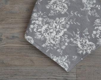 Grey Flannel Bandana Bib - Floral Baby Girl Bib - Drool Bib