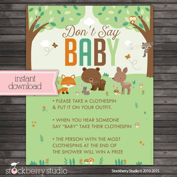 Woodland Baby Shower Donu0027t Say Baby Game Printable