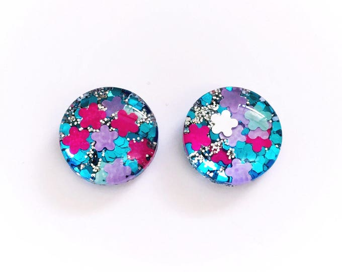 The 'Wild Child' Glitter Glass Earring Studs
