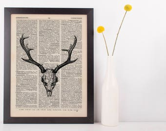 Deer Skull Illustration Dictionary Art Print Vintage Hipster Antique