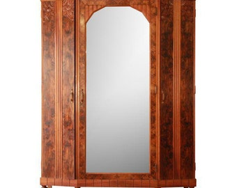 Vintage French Art Deco Burl Wood Mirrored Front Knockdown Wardrobe / 1930s French  Armoire