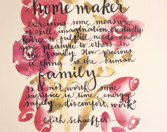 Mother's Day gift Mom Grandmother homemaker Edith Schaeffer hand-lettered watercolor wall art print mother home Mother's Day roses