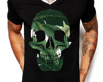 Distinkt Youth Palm Skull BLACK V-Neck T Shirt Fashion Print Top Holiday Dope Music Party Ibiza Summer EDY18
